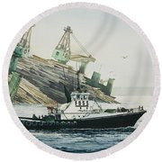 Lindsey Foss Barge Assist Round Beach Towel