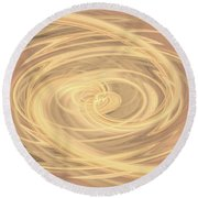 Line Art In Gold And Yellow Round Beach Towel