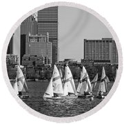 Line Of Boats On The Charles River Boston Ma Black And White Round Beach Towel