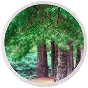 Line Of Pines Round Beach Towel