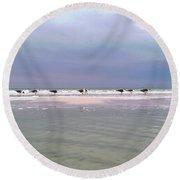 Line Of Seagulls Round Beach Towel