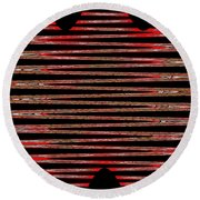 Linear Lesson In Black And Red Round Beach Towel