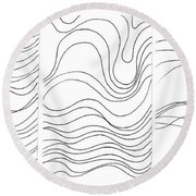 Lines 1-2-3 Black On White Round Beach Towel
