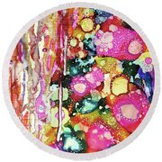 Lines And Bubbles Round Beach Towel