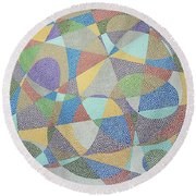 Lines And Curves Round Beach Towel
