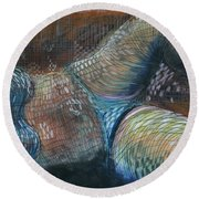 Lines And Curves Vi Round Beach Towel