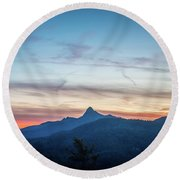 Linville Gorge Wilderness Mountains At Sunset Round Beach Towel
