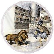 Lion & Gladiator Round Beach Towel