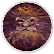 Lion Abstract Round Beach Towel
