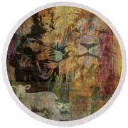 Lion And Lamb Collage Round Beach Towel