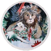 Lion And Lamb Round Beach Towel