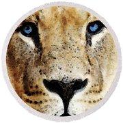 Lion Art - Blue Eyed King Round Beach Towel