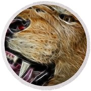 Lion Fractal Round Beach Towel