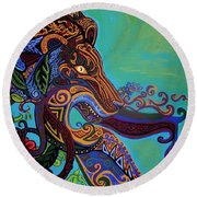 Lion Gargoyle Round Beach Towel by Genevieve Esson