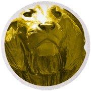 Lion Gold Round Beach Towel