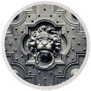 Lion Head Door Knocker Round Beach Towel by Adam Romanowicz