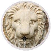 Lion Head Fountain Round Beach Towel