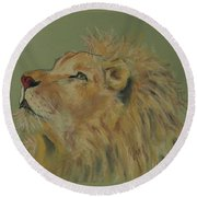 Lion Hearted Round Beach Towel