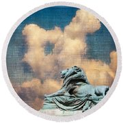 Lion In The Clouds Round Beach Towel