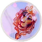 Lion In The Mirror Round Beach Towel