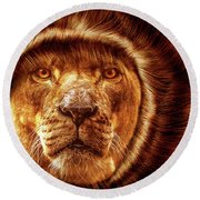 Lion Lady   -1 Round Beach Towel