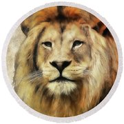 Lion Majesty Round Beach Towel
