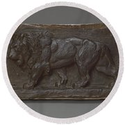Lion Of The Colonne De Juillet Round Beach Towel