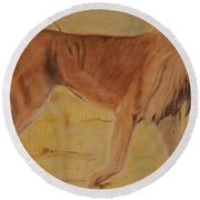 Lion On The Plain Round Beach Towel