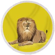 Lion Painting Round Beach Towel