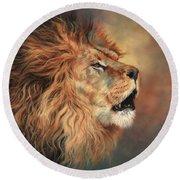Lion Roar Profile Round Beach Towel
