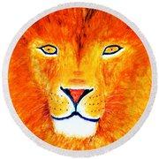 Lion Selfie Color Pop Round Beach Towel