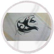Lion Sketch Round Beach Towel