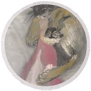 Lady And The Lion Round Beach Towel