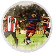 Lionel Messi Challenges The Athletic Bilbao Defense Round Beach Towel