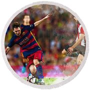 Lionel Messi  Fights For The Ball Round Beach Towel