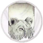Lioness Rising Round Beach Towel