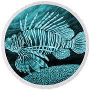 Lionfish On Blue Round Beach Towel