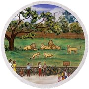 Lions At The Zoo Round Beach Towel