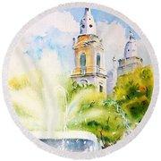 Lions Fountain Plaza Las Delicias  Ponce Cathedral Puerto Rico Round Beach Towel