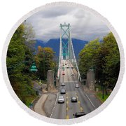 Lion's Gate Bridge Round Beach Towel