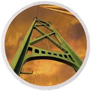 Lions Gate Bridge Tower Round Beach Towel