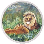 Lions Resting Round Beach Towel