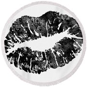 Lips-black Round Beach Towel