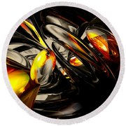 Liquid Chaos Abstract Round Beach Towel