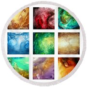 Liquid Color I By Madart Round Beach Towel