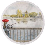 Lisbeth Angling. From A Home By Carl Larsson Round Beach Towel