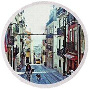 Lisboa Tram Route Round Beach Towel