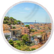 Lisbon Aerial View Round Beach Towel