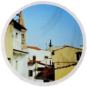 Lisbon Angles Round Beach Towel