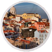 Lisbon Cityscape In Portugal At Sunset Round Beach Towel